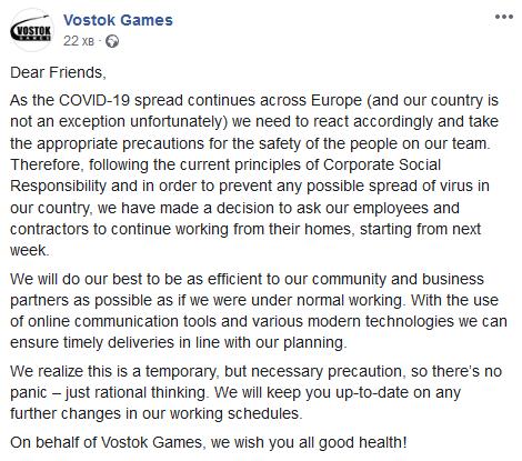 Vostok Games переходит на удалённый режим работы из-за коронавируса